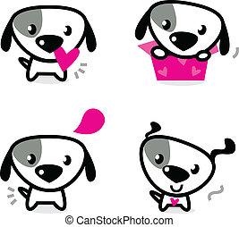 csinos, állhatatos, elszigetelt, kedves, fehér, kutyák
