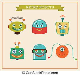 csinos, állhatatos, gazdag koncentrátum, szüret, robotok, retro