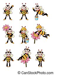 csinos, állhatatos, méh, ikonok