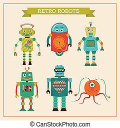 csinos, állhatatos, robotok, szüret, retro