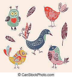 csinos, állhatatos, szín, szórakozottan firkálgat, madarak, szüret, karikatúra