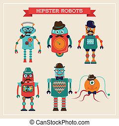 csinos, állhatatos, szüret, robotok, csípőre szabott, retro