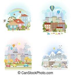 csinos, állhatatos, városi, óceánok, négy, cityscape., kártya, bájos, táj