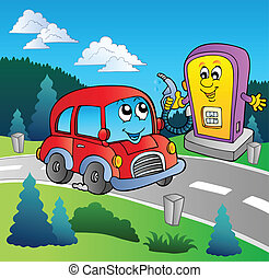 csinos, állomás, gáz, karikatúra, autó
