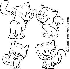csinos, áttekintés, ábra, macska, black háttér, fehér