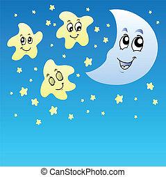 csinos, éjszaka ég, csillaggal díszít, hold