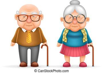 csinos, öreg, család, betű, elszigetelt, ábra, nagyapa, gyakorlatias, vektor, tervezés, ember, nagymama, boldog, hölgy, karikatúra, 3