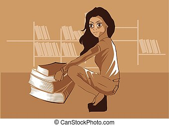 csinos, ülés, ábra, vektor, előjegyez, könyvtár, elülső, leány