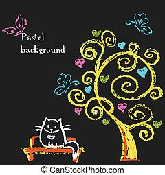 csinos, ülés, fa, bírói szék, hearts., alatt, macska