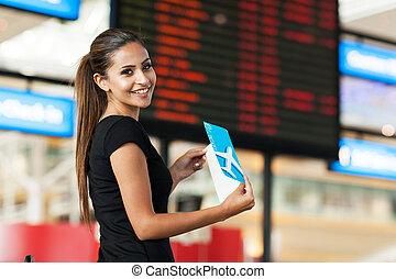 csinos, üzletasszony, utazó, levegő