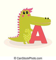 csinos, abc, állat, krokodil