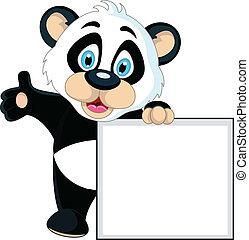 csinos, aláír, birtok, tiszta, csecsemő, panda