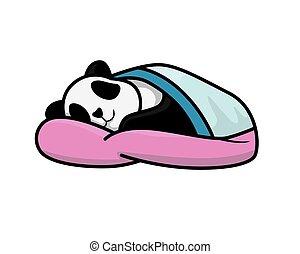 csinos, alatt, alvás, ábra, panda, betakar