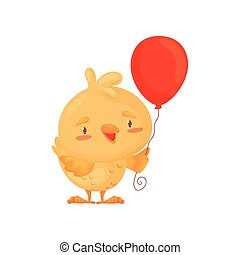 csinos, balloon., ábra, háttér., vektor, csirke, fehér