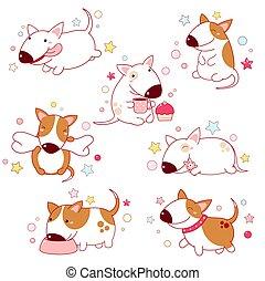 csinos, beállít, különféle, terriers, állhatatos, karikatúra, bika