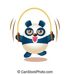 csinos, betű, ábra, panda, odaköt, ugrás, ugrás, hord, elfoglaltság, humanized, karikatúra