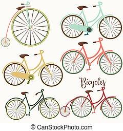 csinos, bicycles, állhatatos, vektor, tervezés