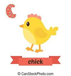 csinos, c-hang, állatok, állat, furcsa, abc, gyerekek, vector., letter., chick., karikatúra