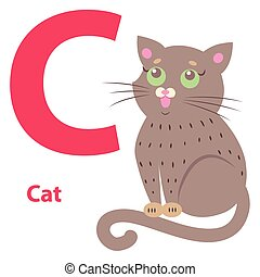 csinos, c-hang, abc, ábra, macska, levél