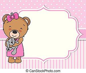 csinos, card., mackó, zápor, csecsemő lány
