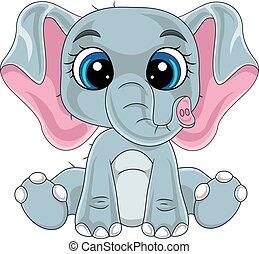 csinos, csecsemő, karikatúra, elefánt, ülés