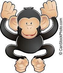 csinos, csimpánz, ábra, vektor