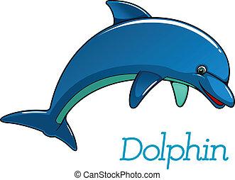 csinos, delfin, betű, karikatúra