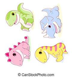 csinos, dinoszauruszok, tyrannosaurus, stegosaurus, állhatatos, diplodocus, triceratops, -