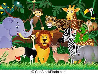 csinos, dzsungel, állat, karikatúra