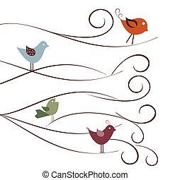 csinos, elágazik, madarak, fa