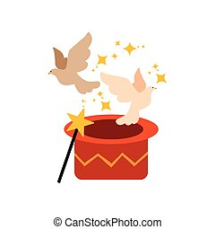 csinos, előadó, varázslatos, furcsa, balek, repülés, cirkusz, ábra, vektor, kalap, állat, előadás, ki