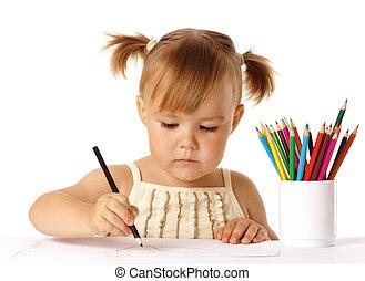 csinos, fókuszált, rajz, preschooler