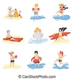 csinos, fürdés, gyerekek, nyár, gyűjtés, díszkíséretek, játék, vektor, ábra, móka, ünnepek, tengerpart, birtoklás