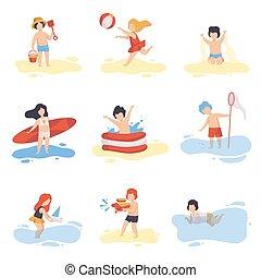 csinos, fürdés, nyár, lány, gyűjtés, díszkíséretek, fiú, vektor, ábra, móka, játék, ünnepek, tengerpart, birtoklás