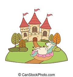 csinos, fairytale, bástya, táj, egyszarvú
