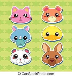 csinos, fej, hat, állat, böllér, karikatúra