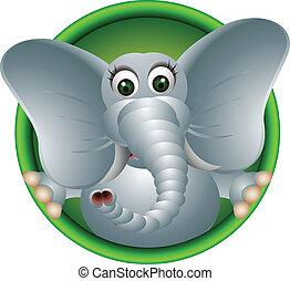 csinos, fej, karikatúra, elefánt