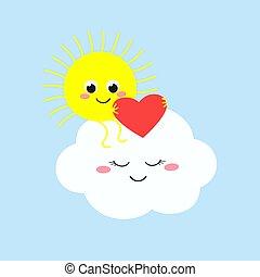 csinos, felhő, ülés, nap, szív