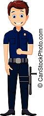 csinos, feltevő, karikatúra, rendőrség