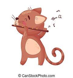 csinos, flute., ábra, macska, háttér., vektor, fehér