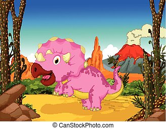 csinos, futás, karikatúra, dinoszaurusz