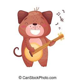 csinos, guitar., kutya, ábra, háttér., vektor, fehér