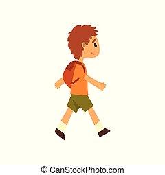 csinos, gyalogló, fiú, hátizsák, ábra, vektor, háttér, fehér
