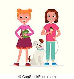 csinos, gyalogló, fogalom, leány, álló, mosolyog., lány, elszigetelt, háttér., fehér, lakás, kutya, betűk, barátok, karikatúra, izbogis, illustration., együtt, vektor, móka, barátság, birtoklás