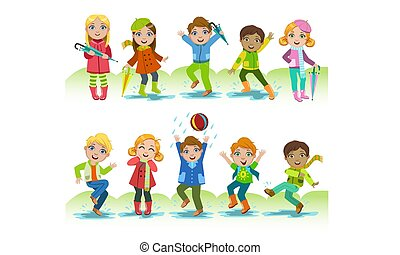 csinos, gyerekek, állhatatos, lány, eső, játék, fiú, vektor, ábra, szabadban, móka, birtoklás, boldog