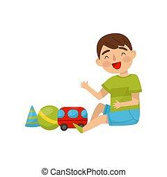 csinos, gyerekek, ülés, fiú, ábra, apró, vektor, napi, háttér, gyakorlat, elfoglaltság, fehér, emelet, játék