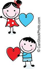 csinos, gyerekek, alak, valentine's, bot, birtok, piros, nap
