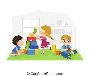 csinos, gyerekek, eltöm, elfoglaltságok, ülés, emelet, ábra, óvoda, fiú, vektor, gyerekszoba, leány, játék