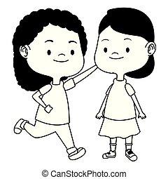 csinos, gyerekek, fekete, karikatúrák, móka, fehér, birtoklás, boldog