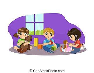 csinos, gyerekek, gyerekszoba, elfoglaltságok, ülés, emelet, ábra, óvoda, fiú, vektor, apró, leány, játék